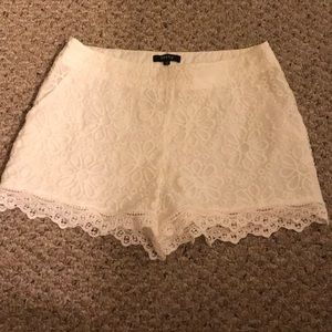 White Lace Side Zip Shorts